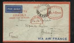 Lettre Air France De Rio De Janeiro 16/02/1937 Pour Bordeaux 22/02/1937 EMA Brasil De 4200 RS + Flamme Touring C.... TB - Covers & Documents