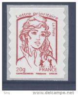N° 851 Marianne Adhésif Rouge Année 2013, Valeur Faciale 20 G - France