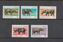 P.R Congo MNH Full Set Elephants Prehistoric Scott 1054-1058 - Stamps