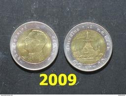 Thailand Coin Circulation 10 Baht Bi Metal Year 2009 UNC - Thailand