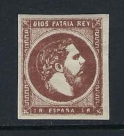 ESPAÑA 1875 CARLOS VII 1r CASTAÑO Nº 161 - 1873-74 Regentschaft