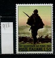 Italie - Italy - Italien 1967 Y&T N°988 - Michel N°1246 *** - 50l Résistance Sur Le Piave - 6. 1946-.. Republik