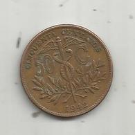 MONNAIE , BOLIVIE , Republica De BOLIVIA , Cincuenta , 50 CENTAVOS ,  1942 ,  2 Scans - Bolivia
