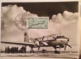 Postkarte Der Lufthansa 1957 Mit  IL-14, Echtfotografie,mit Briefmarke Des Gleichen Flugzeugs,10 Pfennig Der DDR; - Papiere