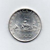 """ITALIA - 1958 - 500 Lire """"Caravelle"""" - Argento 835 - Peso 11 Grammi - (MW2163) - 1946-… : Repubblica"""