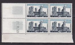 N° 1235 Série Touristique: Cathédrale De Laon: Bloc De 4 Timbres Coins Datés 27.11.59 Neuf Impeccable - 1960-1969