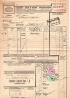 CHOCOLATS CAMILLE BLOCH - CACAO - COCOA / 1944 SUISSE COURTELARY TIMBRES SUR LETTRE DE VOITURE (ref 7462) - Ferrocarril