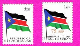 SOUTH SUDAN Surcharge Overprint ERROR 2x: Missing Value And Inverted Bars On 1 SSP Flag Stamp Südsudan Soudan Du Sud - South Sudan