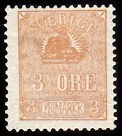 1862 - 1869. Lying Lion. 3 öre Bister Brown. Reprint 1885. Only 2000 Issued. (Michel ND 14) - JF100769 - Neufs