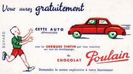 Buvard Ancien Le Chocolat Poulain Chèque Tintin - - Cocoa & Chocolat