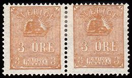 1862 - 1869. Lying Lion. 3 öre Bister Brown. Reprint 1885. Only 2000 Issued. Pair. Ve... (Michel ND 14) - JF100770 - Neufs