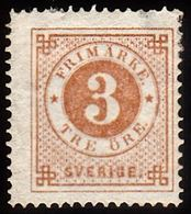 1872. Circle Type. Perf. 14. 3 øre Bistre Brown. Small Thin Spot. (Michel 17A) - JF100780 - Neufs