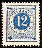 1877. Circle Type. Perf. 13. 12 øre Blue. (Michel 21B) - JF100804 - Nuevos