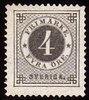 1886. Circle Type. Perf. 13. Posthorn On Back. 4 öre Grey. (Michel 31) - JF100807 - Nuevos