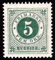 1886. Circle Type. Perf. 13. Posthorn On Back. 5 öre Green. LUX. (Michel 32) - JF100808 - Neufs