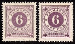 1886. Circle Type. Perf. 13. Posthorn On Back. 6 öre Red Lilac. 2 Shades. LUX. (Michel 33b) - JF100809 - Neufs