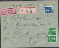 1944. Ao. Censor (Riemer O-31). OSLO Bko. 25.10-44 To Sverige. 2 X 10 ØRE + 60 ØRE. R... (MICHEL 220 + 230) - JF310320 - Noorwegen