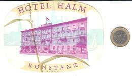 ETIQUETA DE HOTEL  - HOTEL HALM  -KONSTANZ  -ALEMANIA - Hotel Labels