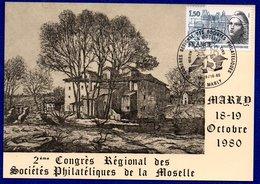 Carte / 2 ème Congrès Régional Des Sociétés Philatéliques De La Moselle / Marly / 18-19/10/1980 - Cartes-Maximum