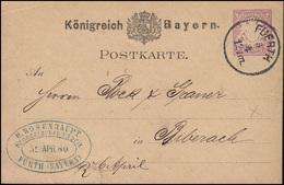 Bayern P 18 Wappen 5 Pf Lila, Bronzefarben-Fabrik FÜRTH 5.4. Nach Biberach - Fabriken Und Industrien