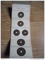 LOT 6 PIECES ANNAM DYNASTIE DES NGUYEN 1802 1945 RARE SUR PETIT CARTON - Coins