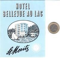 ETIQUETA DE HOTEL  - HOTEL BELLEVUE AU LAC  -ST. MORITZ  -SUIZA - Hotel Labels
