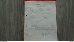 FACTURE ERCUIS COUVERTS ET ORFEVRERIE PARIS 1952 - Frankreich