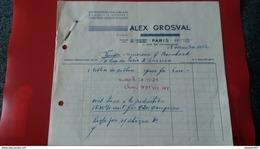 FACTURES DIAMENTS PIERRES FINES JOAILLERIE ALEX GROSVAL PARIS 1952 - Frankreich