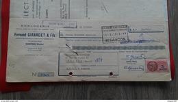 ENSEMBLE FACTURES HORLOGERIE  SELECT WATCH FERNAND GIRARDET ET FILS MORTEAU 1952 - Frankreich