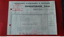FACTURE FOURNITURES D HORLOGERIE ET OUTILLAGE SCHWARTZMANN FRERES MORTEAU DOUBS 1952 - Frankreich