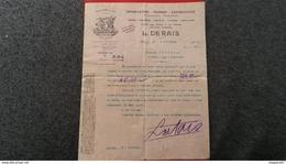 FACTURE IMPORTATION TRANSIT EXPORTATION MATIERES PREMIERES L. DERAIS HAVRE 1904 - France