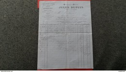 FACTURE FABRIQUE FILS LAINES COTONS JULES DUPUIS PARIS 1891 - France