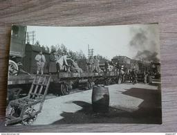 PHOTO GARE CHEMIN DE FER TRAIN SOLDATS 14X9.5CM - Trains