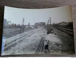 PHOTO CHEMIN DE FER METIER EXECUTION DU REMBLAI 1946 PHOTO S.N.C.F DEPOT TROYES PREIZE - Trains