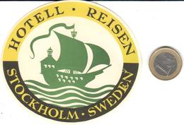 ETIQUETA DE HOTEL  - HOTELL REISEN  -STOCKHOLM  -SWEDEN  (SUECIA) - Hotel Labels