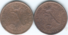 Belgium - Albert I - 2 Centimes - 1912 - French (KM64) & 1911 - Dutch (KM65) - 1909-1934: Albert I