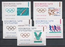 COREA  DEL  SUD:  1964  GIOCHI  OLIMPICI  DI  TOKIO  -  S. CPL. 5  BL/FGL  N. -  YV/TELL. 74/78 - Corea Del Sud