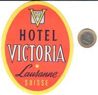 ETIQUETA DE HOTEL  - HOTEL VICTORIA  -LAUSANNE  -SUISSE - Hotel Labels