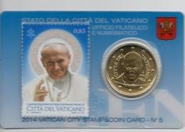 2014 VATICANO - PONTIFICATO PAPA FRANCESCO - CANONIZZAZIONE DI PAPA GIOVANNI PAOLO II STAMP&COIN CARD N.5 - Vatican