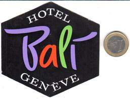 ETIQUETA DE HOTEL  - HOTEL BALI  -GENÈVE  -SUISSE - Hotel Labels