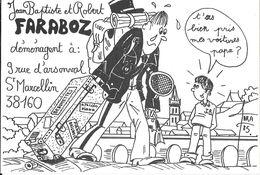 ILLUSTRATEUR ROBERT FARABOZ  CARTE PERSONNELLE DÉMÉNAGEMENT GENDARMERIE SAINT MARCELLIN 38 ISÈRE - Autres Illustrateurs