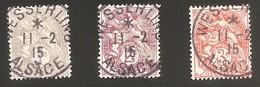 Blanc Obl Wesserling 1er Jour Ouverture Du Bureau Le 11 Février 1915 - 1c / 2c / 3c - 107 - 108 - 109 - Marcophily (detached Stamps)