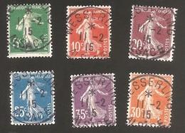 Obl Wesserling 1er Jour Du Bureau Le 11 Février 1915 - Semeuse 5c / 10c / 20c / 25c / 30c - 140 - Marcophily (detached Stamps)