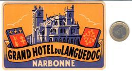 ETIQUETA DE HOTEL  -GRAND HOTEL DU LANGUEDOC  -NARBONE  -FRANCIA - Hotel Labels