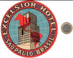 ETIQUETA DE HOTEL  - HOTEL EXCELSIOR  -SAO PAULO  -BRASIL - Hotel Labels