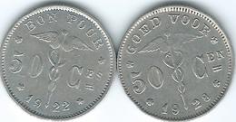 Belgium - Albert I - 50 Centimes - 1922 - French (KM87) & 1928 - Dutch (KM88) - 1909-1934: Albert I