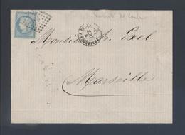 Ambulant Périgueux à Paris Brigade D 1871 Losange PP 60A Cérès Tarif 25c Variété Couleur Très Pâle - Postmark Collection (Covers)