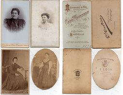 4 CDV De Femmes  Photos E. Léon Et A. Charavet - Lyon - G. Ouvière Et Cheri Rousseau - Marseille     (112707) - Personnes Anonymes