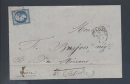 Ambulant Lyon à Paris 2° 1863 Losange LP 2° 1863  22 Napoléon Tarif 20c  Pour Moirans Facture Graisse F Fays - Postmark Collection (Covers)