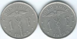 Belgium - Albert I - 1 Franc - 1923 - French (KM89) & 1928 - Dutch (KM90) - 07. 1 Franc